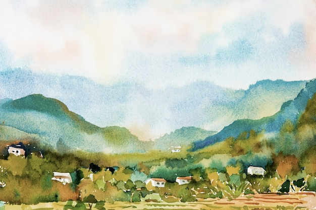 Watercolor landscape painting of a colorful village and rice fields in the mountain.
