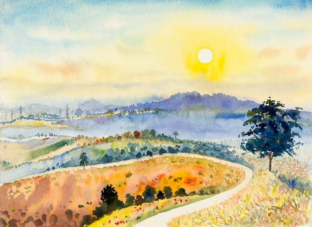 Watercolor landscape painting panorama colorful of mountain natural beauty tree in the khao kho of thailand and resort, farm field meadow, forest with sun, sky background in nature spring seasonal.