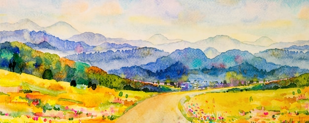 Watercolor landscape painting panorama