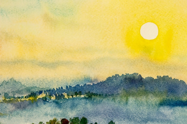Watercolor landscape paintings colorful mountain sunset and sky cloud in abstract background painting abstract landscape spring in sky backdrop hand painted nature environment illustration design