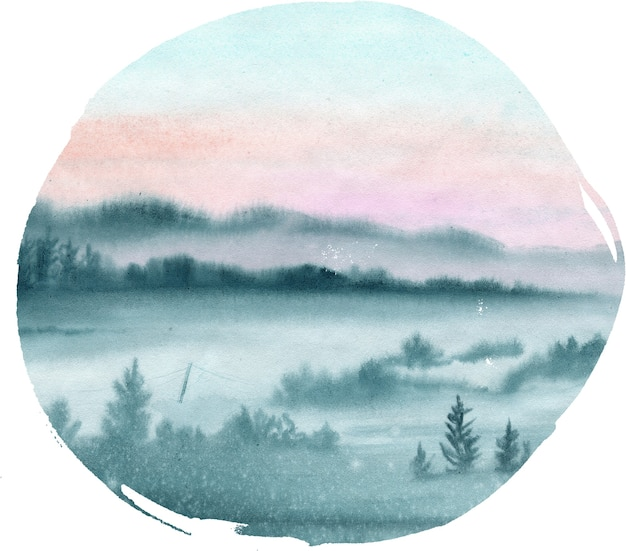 Watercolor landscape with forest in the morning