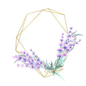 다각형 골드 프레임에 수채화 라벤더 꽃.