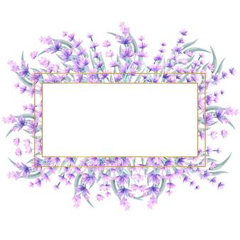 직사각형 골드 프레임에 수채화 라벤더 꽃.