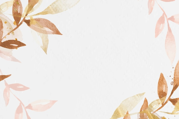 Watercolor leaf border white background with design space