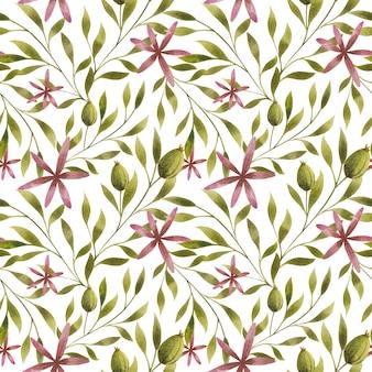 白い背景の上の水彩画の葉の枝の花シームレスなパターンエレガントな花のリピートプリント