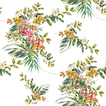 Watercolor leaf and flowers seamless pattern