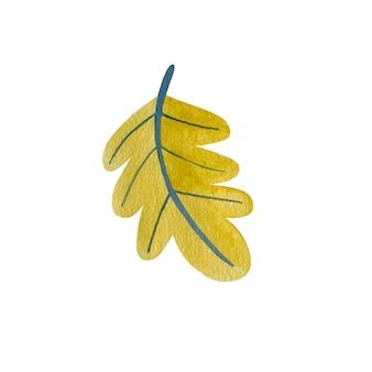 Акварельный лист, изолированные на белом фоне