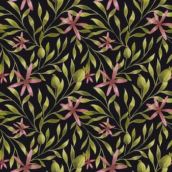 水彩画は、黒い背景のシームレスなパターンに枝の花を残します花のリピートプリント