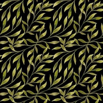 水彩画は黒の背景に枝を残しますシームレスパターンエレガントな花柄リピートプリント