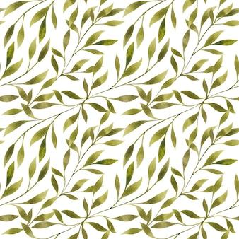 水彩画の葉、白い背景のシームレスなパターンの枝。エレガントなフローラルリピートプリント。ロマンチックな植物のデザイン。
