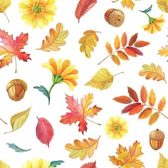 水彩は、白い背景のカエデナナカマドを残します。シームレスパターン。秋のデザインの明るいシームレスパターン。
