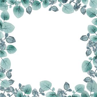 수채화 잎 로맨틱 프레임 빈티지 사각형 프레임 허브 유칼립투스와 잎