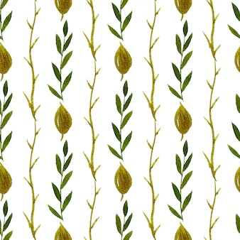 Watercolor leaves seamless pattern. can be used for wrapping and textile design