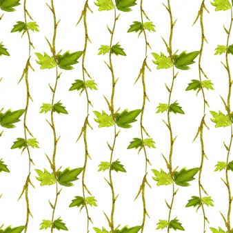 Watercolor leaves seamless pattern.