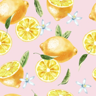 Watercolor lemons with green leaves, lemon slices and flowers. seamless pattern.