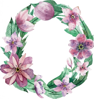 Watercolor letter o made of pink decorative flowers and green leaves.