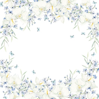 Watercolor light blue flowers frame on white background