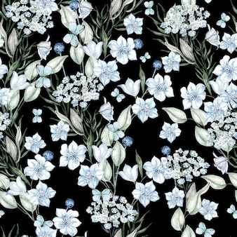 Watercolor light blue flowers pattern on black background