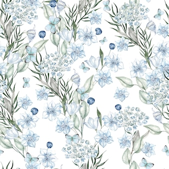 Watercolor light blue flowers pattern on white background