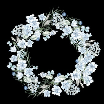 Watercolor light blue flowers round frame on black background