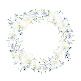 Watercolor light blue flowers round frame on white background