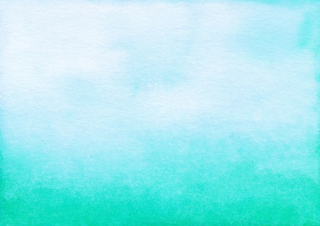 Watercolor light blue-green ombre background hand painted