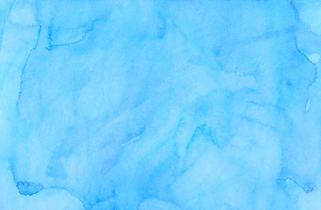 Watercolor light blue lagoon color background painting. watercolour bright sky blue stains on paper. artistic background.