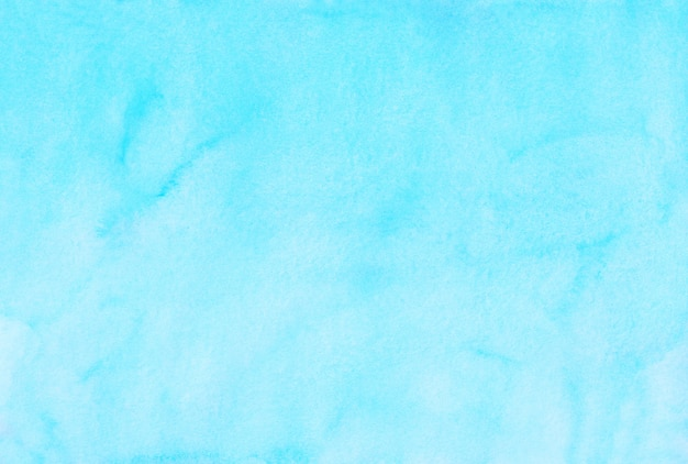 Watercolor light cyan blue background painting. watercolour bright sky blue stains on paper. artistic background.
