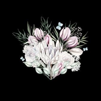 검은 배경에 수채화 라이트 핑크 꽃 그림
