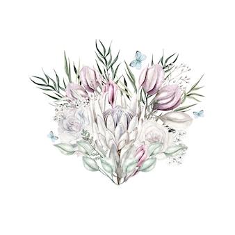 흰색 배경에 수채화 라이트 핑크 꽃 그림