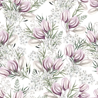 Watercolor light pink flowers pattern on white background