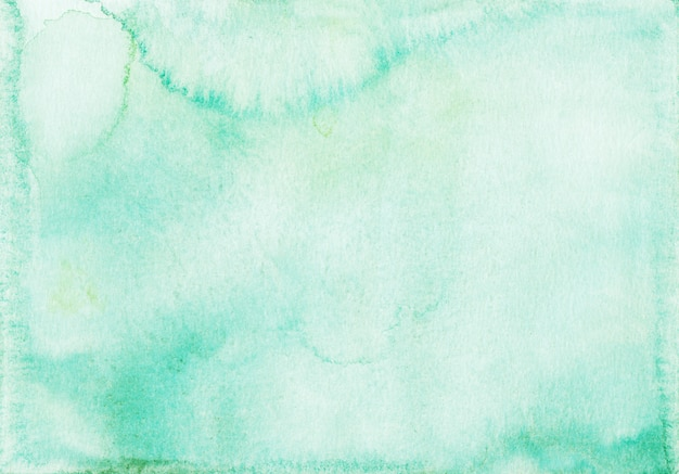 Watercolor light sea green background texture. pastel emerald watercolour backdrop, hand painted.