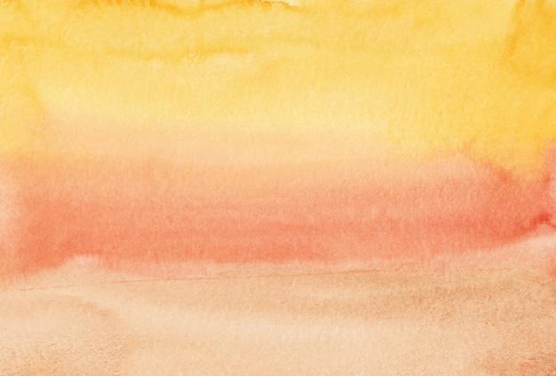 수채화 밝은 노란색, 주황색, 복숭아 그라데이션 배경