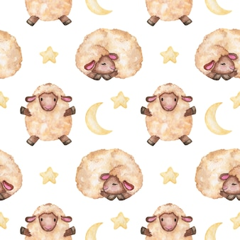 月と星のシームレスなパターンと水彩の小さな子羊