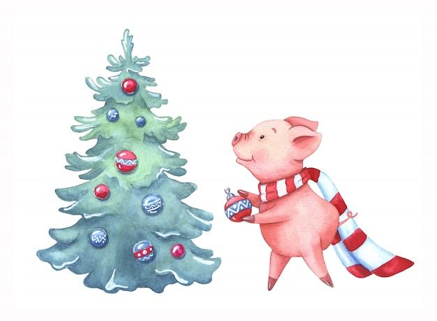 Watercolor little piggy decorates a christmas tree.