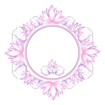 Watercolor lotus. round frame for invitations