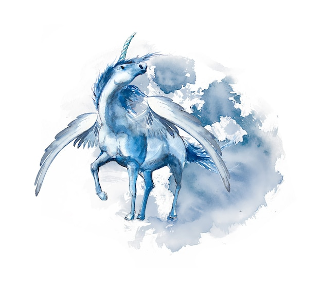 Watercolor magical unicorn design isolated on a white background.
