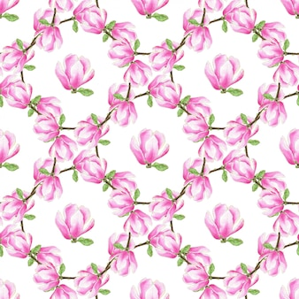 Watercolor magnolia seamless pattern. fashion pink flowers texture. can be used for wrapping, fabric and textile, wallpaper and package design