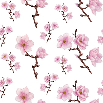 Акварель магнолия бесшовные модели, розовые цветы, узор ветви магнолии