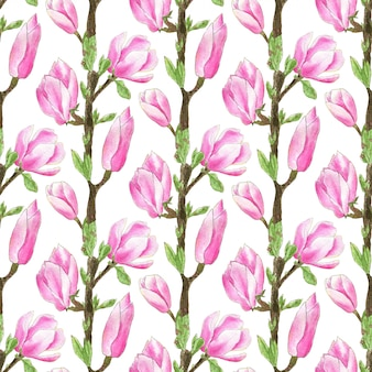 Watercolor magnolia tree pattern