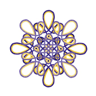 Watercolor mandala in purple and yellow colors. lace ornament isolated on white background. decor element.