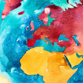 Watercolor map of europe and africa. aquarelle illustration.