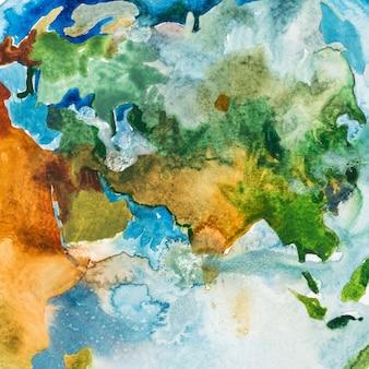 아시아, 유럽 및 아프리카의 수채화지도. 수채 화법 그림.