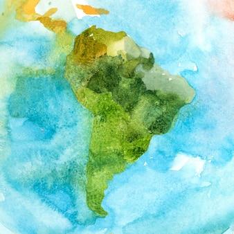 남아메리카의 수채화지도. 수채화 그림.