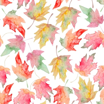 Watercolor maple autumn leaf seamless pattern
