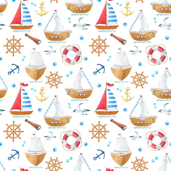 Watercolor marine seamless pattern with ship seagull and anchors