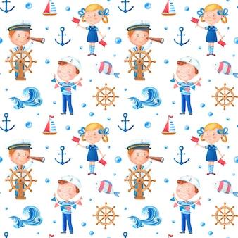 白い背景の上の女の子と男の子と水彩の海洋テーマパターン。