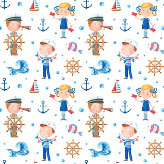 Watercolor marine theme pattern with a girl and a boy over white background.