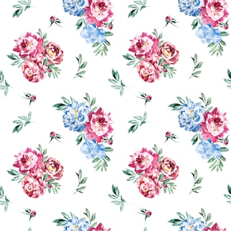 Watercolor marsala and navy blue peony seamless pattern.