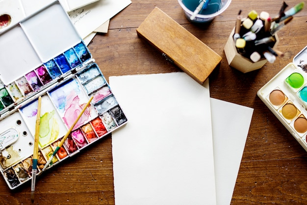 Watercolor materials on the table